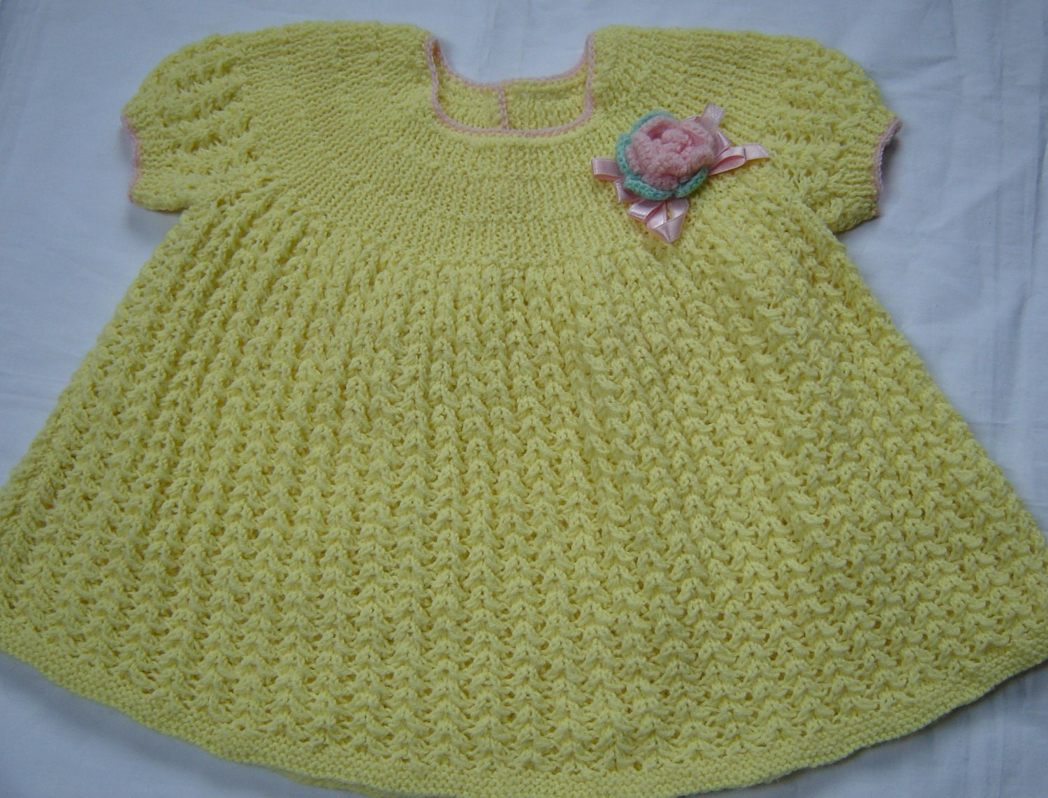 Hand Knitted Dress Patterns : Hand Knit Crochet Baby Girl Dress Vintage Style by SwanAvenue