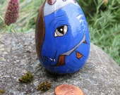 """Dragon Painted Pyrography 2.5"""" Maple Wood Egg"""