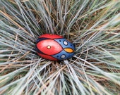 """Blue, Gold and Red Acrylic Painted Wooden Star Egg 2.5"""""""