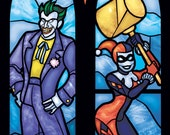 Twin Lancet Set - Joker and Harley Quinn Stained Glass Illustration