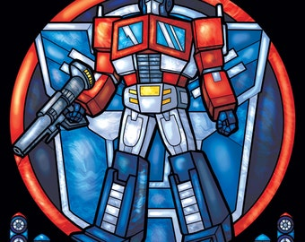 Rose Window - Optimus Prime Stained Glass Illustration