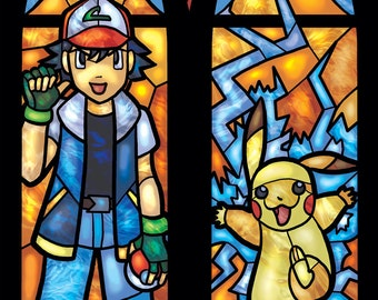 Twin Lancet Set - Ash Katchum and Pikachu Stained Glass Illustration