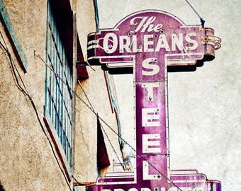 The Orleans Steel Company- Matted Photograph- New Orleans Art- Vintage Signs