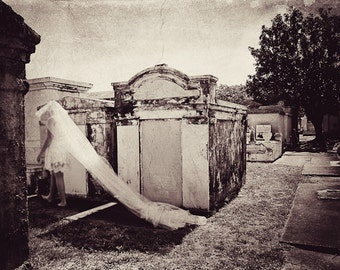 The Ghost in the Cemetery- Matted Photograph- New Orleans Art- Black and White