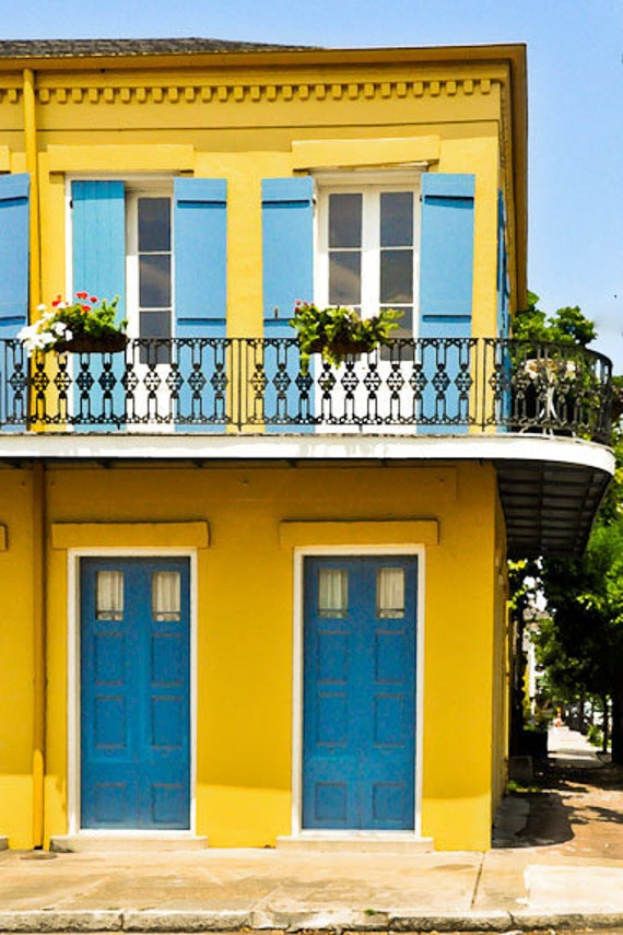 Yellow House- New Orleans Living- Matted Photograph- Yellow and Blue Colors