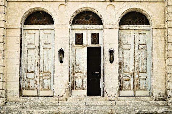 Open Doors Matted Photograph New Orleans Art Home Decor
