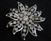 Vintage 1960's Large Rhinestone Flower Brooch, Free Shipping