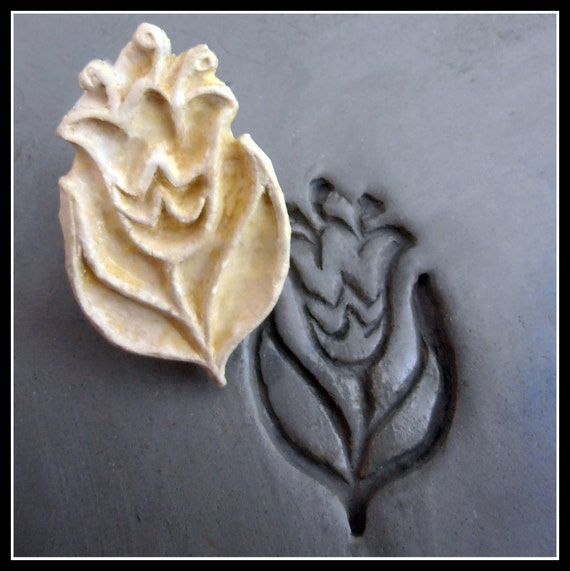 Handcarved Stamp, Bisque Clay stamp,    for stamping on stoneware clay, polymer clay, metal clay, crafts, and fondart foods ( 0049 )