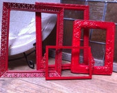 Upcycled Frames, Vintage Red Frames, Unique Home Decor