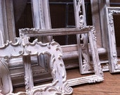 Wedding Decor, Empty Wall of Frames, Chippy Frames, White Shabby Chic, The Ugly Duckling, Distressed Vintage Frames, Home Decor