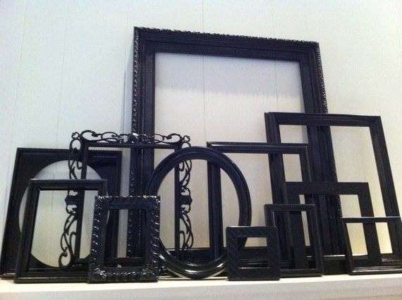 Home decor black vintage frames painted upcycled funky decor for Funky home decor