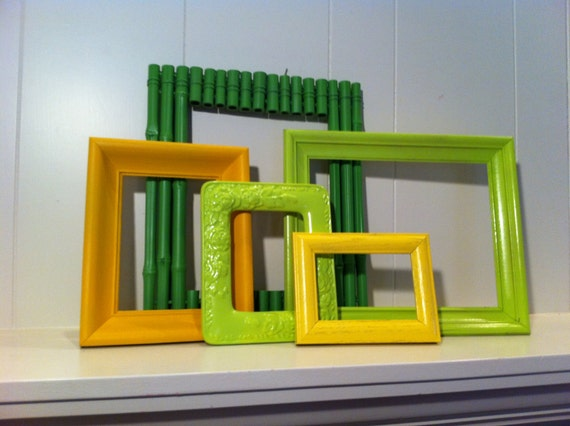 Funky Home Decor, Vintage Frames, Empty Frames, Painted, Upcycled, Wall of Frames, Lime Frames