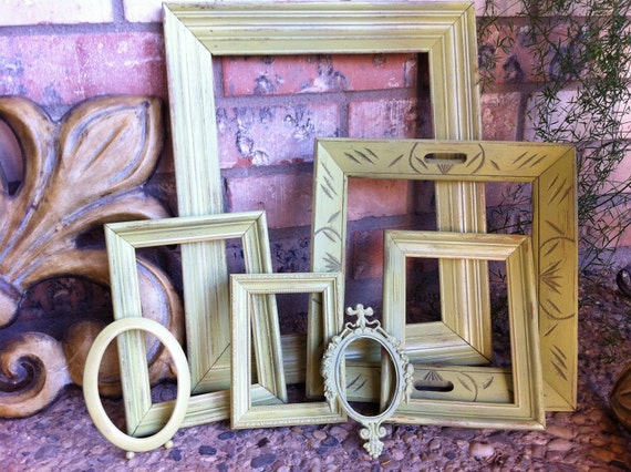 Distressed Vintage Frame Set Green Shabby Chic Upcycled Painted Wedding Beach Decor