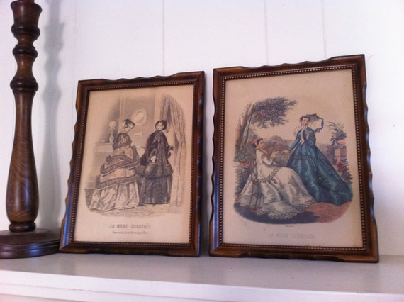 Shabby Chic Decor Vintage French Fashion Frames Vintage Prints Pair of Frames