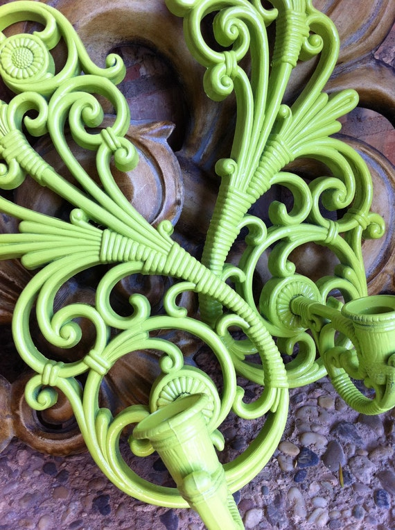 Upcycled Painted Vintage Wall Sconces Hollywood Regency in Lime