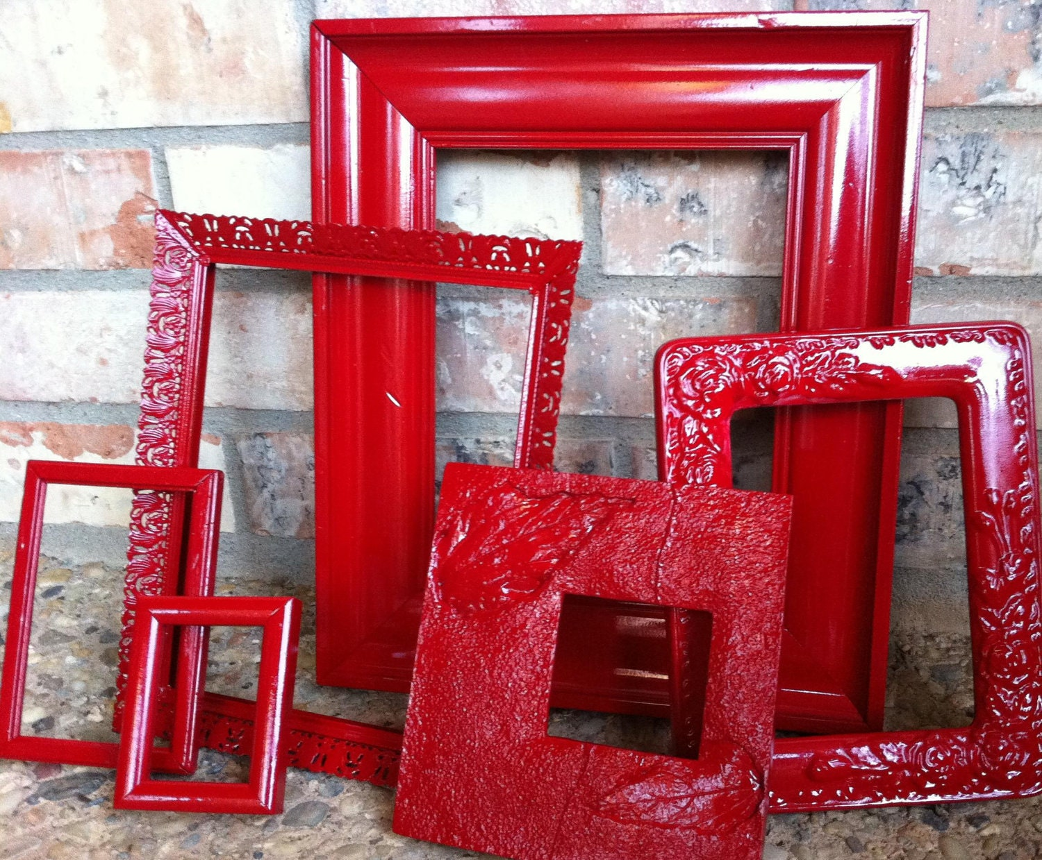 Upcycled Frames Vintage Red Frames Unique Home Decor by FeFiFoFun