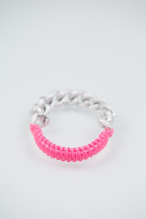 Cobra bfrend bracelet- Pink Silver chain friendship bracelet