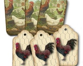 French Country Rooster/chicken TAGS, printable, Farm Scene Set of 6 gift tags, Instant Download