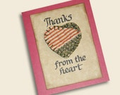 Handmade Greeting Card  Thanks From the Heart Hand Lettered Antique Quilt Heart