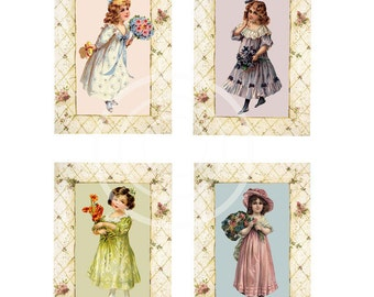 Victorian Girls Instant Download Tags, ATC, Digital Collage, Cards, Scrapbook clip art, flower girl printable, Mothers Day, craft supplies