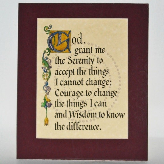 Calligraphy Serenity Prayer Illuminated with Watercolor, Cranberry Matted 8 by 10