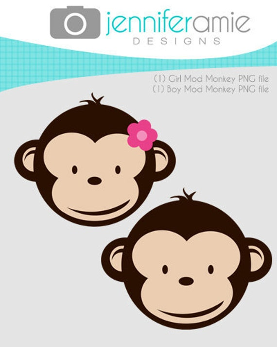 Girl and Boy Mod Monkey clipart for Personal by ...