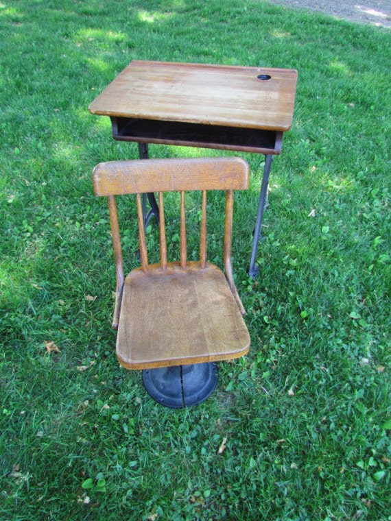 Antique School Desk and Chair on sale