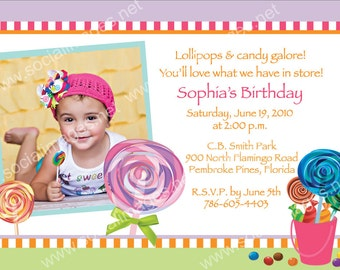 A Sweets Shop Girl Birthday Invite - Pricing includes PRIORITY shipping