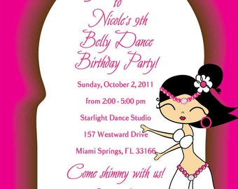 Belly Dance Girl Birthday Invite - Pricing includes PRIORITY shipping