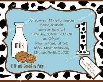 Milk and Cookies Birthday Invitation, Quantity 25