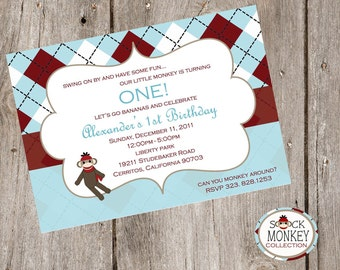 Sock Monkey Party Invitation - Pricing includes PRIORITY shipping