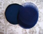200 pcs 3 inches Hand cut Fabric Circles -  Navy - Silk Satin
