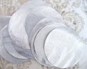 40 pcs 1.5 inches Silver Lame Hand cut Fabric Circles