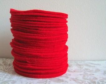 "100 pcs, 4"" Hand cut Fabric Circles - Red Felt"