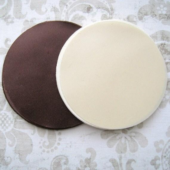 60 pcs 3 inches Hand cut Fabric Circles -  Ivory, Brown - Bridal Satin