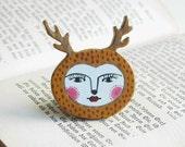 Deer Head Wooden PIn Brooch