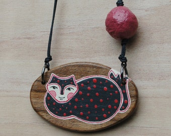Cat  Pendant Necklace Wooden Pendant Animal Necklace Jewelry