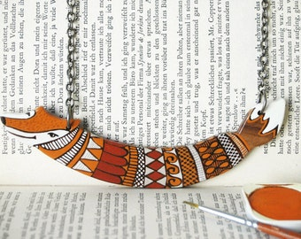 Rust Orange Fox  Necklace Wooden Art Necklace Hand Painted Wood Necklace