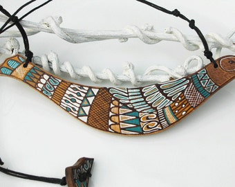 Hand Painted Bird Necklace  Tribal Wood Necklace Animal Necklace Art Pendant made to order