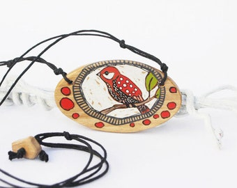 Bird Necklace Hand Painted on Wood Necklace Oval