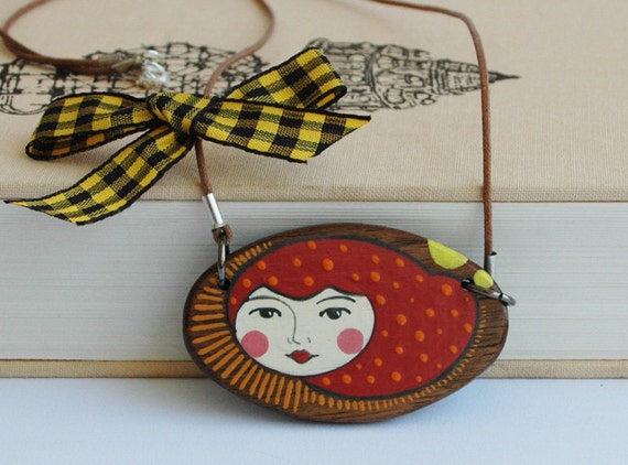 Redhaired GIrl Walnut Wood Pendant Red Illustrated Necklace on Wood Oval Pendant