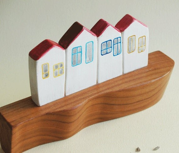 Little Houses Village on the Hill Sculptural Wall Art