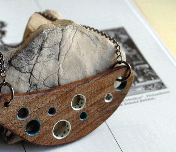 Simple Modern  Walnut Wood Necklace