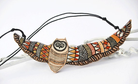 Art Pendant Hand Painted Owl Necklace on Wood