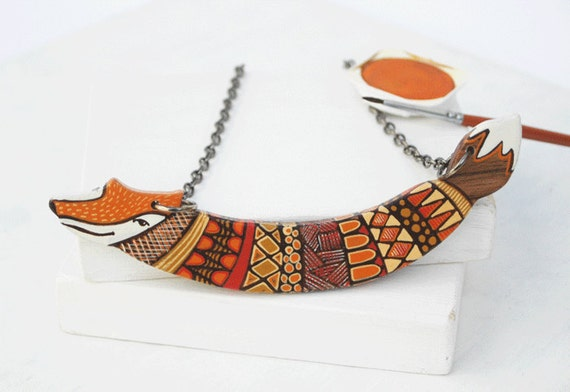 Custom Order for Sandra Orange Fox Art Necklace Animal  Necklace