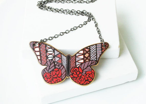 Butterfly Necklace Hand Painted on Walnut Wood Art Pendant Wood Necklace OOAK