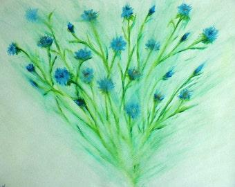 Cornflowers in Mist - print
