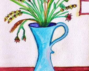 Still Life Blue Vase - Print