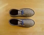 Grey felt house shoes