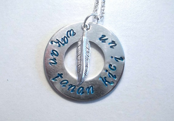 """Hand Stamped Jewelry Native American Inspired Necklace """"May the Great Spirit Bless You"""""""